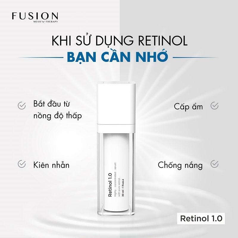 lưu ý khi sử dụng retinol